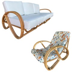 Restored 3/4 Round Pretzel Rattan Lounge Chair and Sofa Set