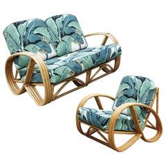 Restored 3/4 Round Pretzel Rattan Lounge Chair and Sofa