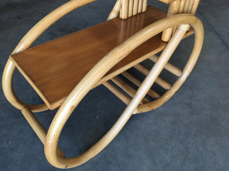 Restored 3/4 Round Pretzel Rattan Side Table with Two-Tier Mahogany Tops, Pair For Sale 4