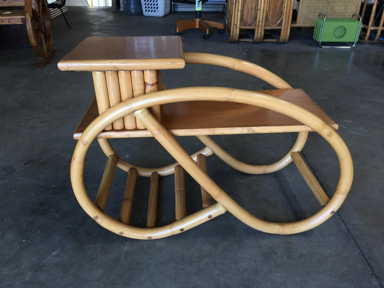 Restored 3/4 Round Pretzel Rattan Side Table with Two-Tier Mahogany Tops, Pair In Excellent Condition For Sale In Van Nuys, CA