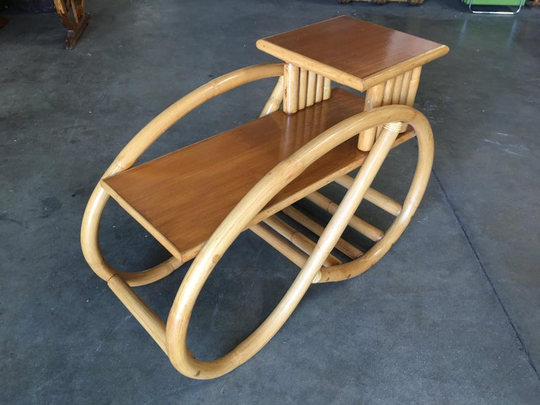 Mid-20th Century Restored 3/4 Round Pretzel Rattan Side Table with Two-Tier Mahogany Tops, Pair For Sale