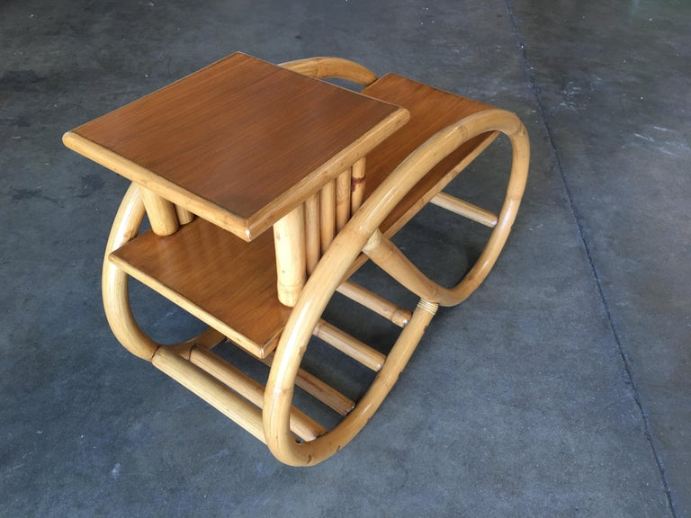 Restored 3/4 Round Pretzel Rattan Side Table with Two-Tier Mahogany Tops, Pair For Sale 1