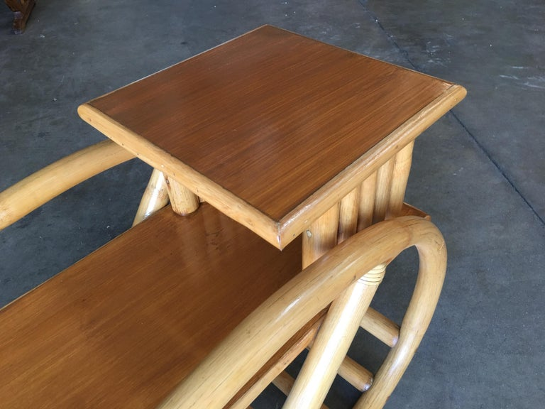 Restored 3/4 Round Pretzel Rattan Side Table with Two-Tier Mahogany Tops, Pair For Sale 3