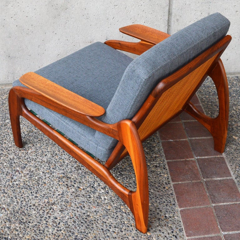 Restored Adrian Pearsall Sculptural Lounge Chair with Cane Back & Gray  Cushions