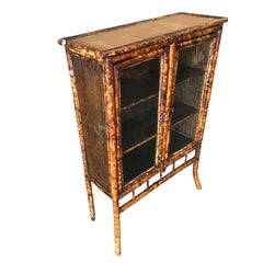 Restored Aesthetic Movement Tiger Bamboo Breakfront Cabinet