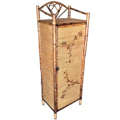 Restored Aesthetic Movement Tiger Bamboo Linen Cabinet with Rice Mat Covering