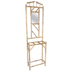 Restored Aesthetic Movement Tiger Bamboo Umbrella Stand with Mirror