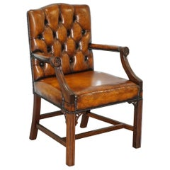 Restored Aged Brown Leather Thomas Chippendale Gainsborough Carver Armchair
