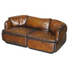 Restored Alberto Rosselli 1970's Cigar Brown Leather Saporiti Confidential Sofa