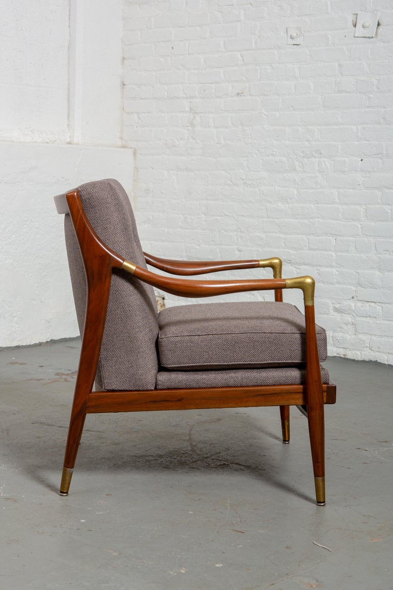 Mid-Century Modern Restored American Midcentury Armchair with Brass Accents For Sale