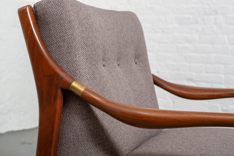 Walnut Restored American Midcentury Armchair with Brass Accents For Sale