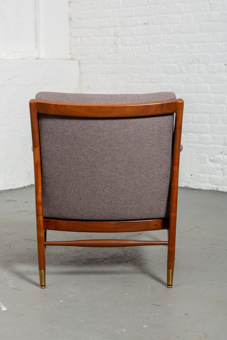 Restored American Midcentury Armchair with Brass Accents For Sale 1