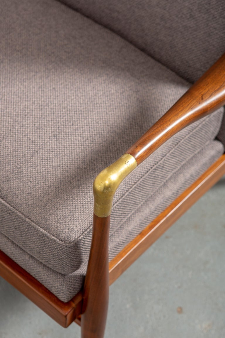Restored American Midcentury Armchair with Brass Accents For Sale 2