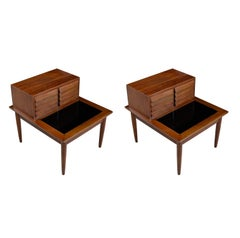 Restored American of Martinsville Dania Walnut Louvered Lamp Table Nightstands
