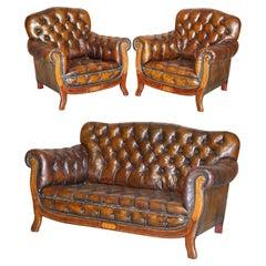 Restored Antique Art Nouveau Chesterfield Brown Leather Sofa Armchairs Suite