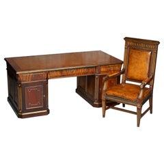 Restored Antique Russian Hardwood & Gilt Metal Partner Desk & Leather Armchair