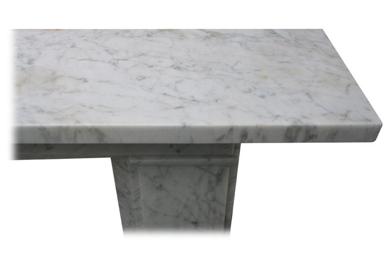 Restored Antique Victorian Carrara Marble Fireplace Surround For Sale 4