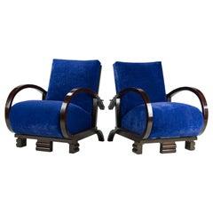 Restored Blue Art Deco Lounge Chairs, 1930s