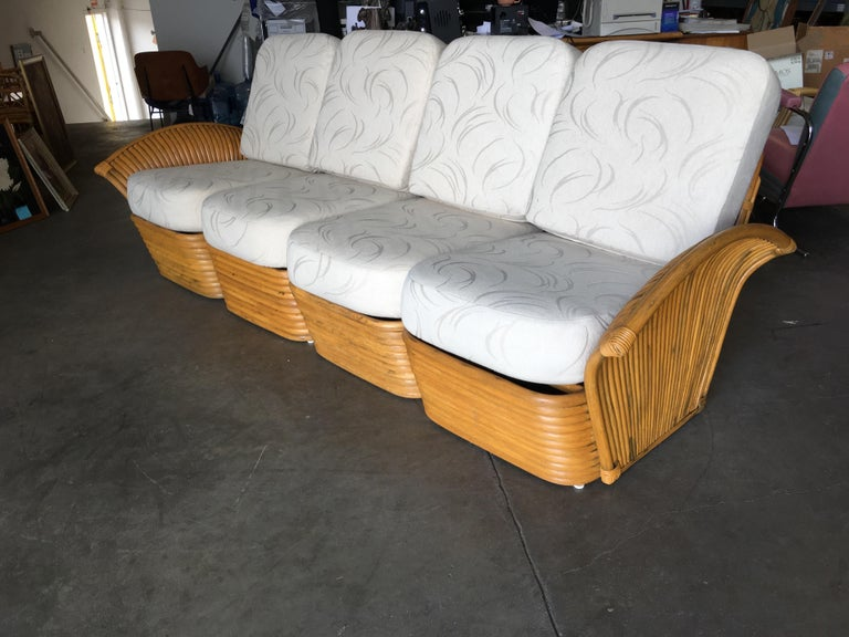 Restored Art Deco Rattan Fan Arm Four-Seat Sofa In Distressed Condition For Sale In Van Nuys, CA
