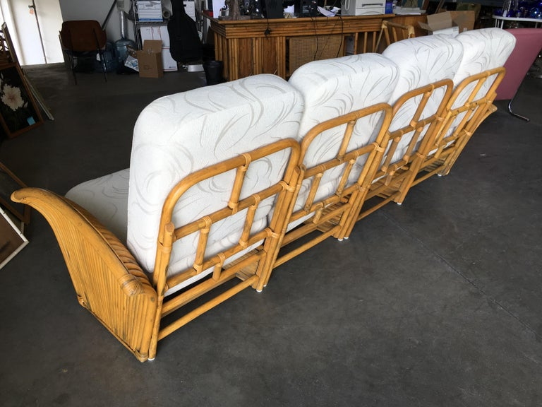 Restored Art Deco Rattan Fan Arm Four-Seat Sofa For Sale 1