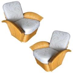 Restored Art Deco Rattan Fan Arm Lounge Chair Pair
