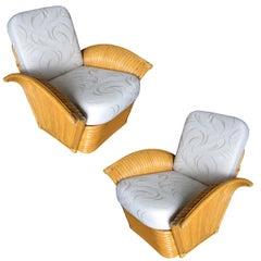 Restored Art Deco Rattan Fan Arm Lounge Chair Pair, Paul Frankl