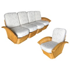 Restored Art Deco Rattan Fan Arm Four-Seat Sofa & Lounge Chair Livingroom Set