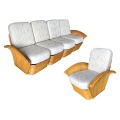 Restored Art Deco Rattan Fan Arm Three-Seat Sofa & Lounge Chair Livingroom Set