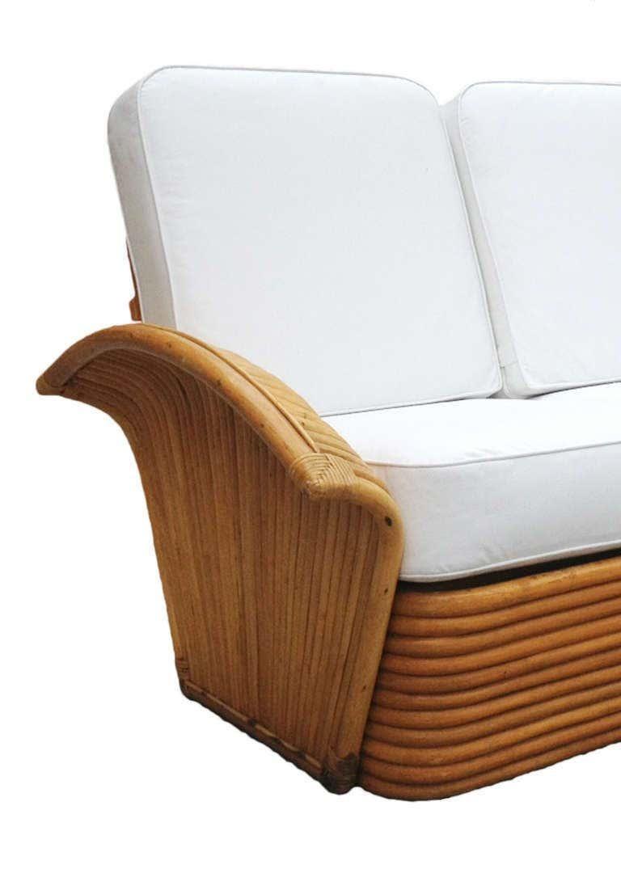 Art Nouveau Restored Art Deco Rattan Fan Arm Three-Seat Sofa, Rare For Sale