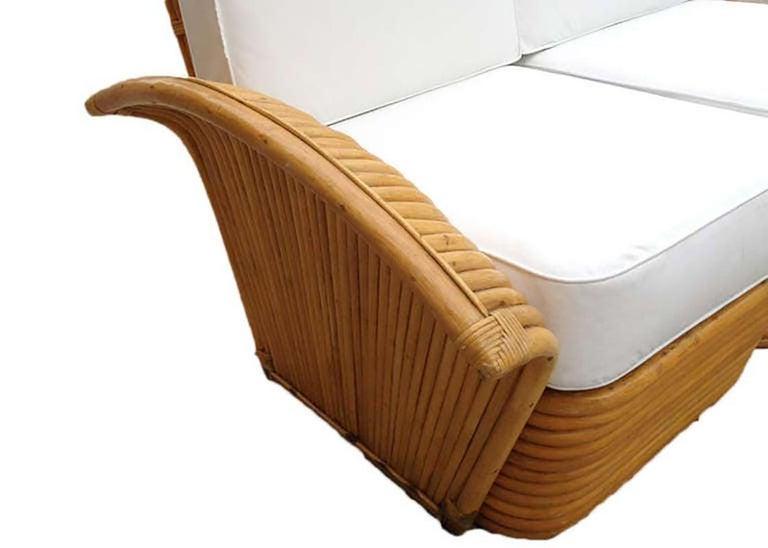 American Restored Art Deco Rattan Fan Arm Three-Seat Sofa, Rare For Sale