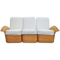 Restored Art Deco Rattan Fan Arm Three-Seat Sofa, Rare
