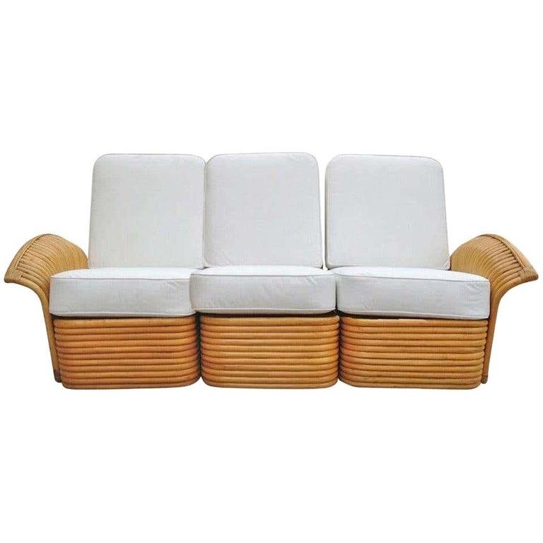 Restored Art Deco Rattan Fan Arm Three-Seat Sofa, Rare For Sale