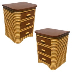 Restored Art Deco Stacked Rattan Bedside Table with Mahogany Top, Pair
