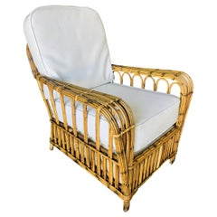 Restored Art Deco Stick Rattan Cathedral Arm Lounge Chair
