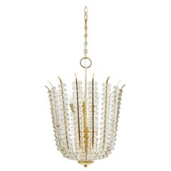 Restored Basket Crystal and Brass Chandelier Bakalowits, circa 1950