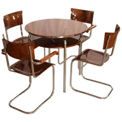 Restored Bauhaus Cantilever Seating Group, Walnut and Chrome, Czech, circa 1930