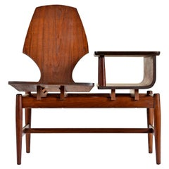 Restored Bent Walnut Plycraft Telephone Gossip Chair
