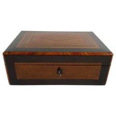Restored Biedermeier Box, Birdseye Maple, Ebony, Rosewood, Austria circa 1820