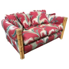 "Restored ""Big Kings"" Plush Rattan Loveseat Sofa with 4 Strand Arms"