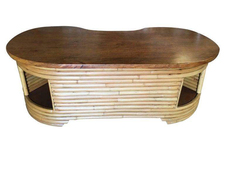 Restored Biomorphic Rattan And Mahogany Coffee Table With Cubby
