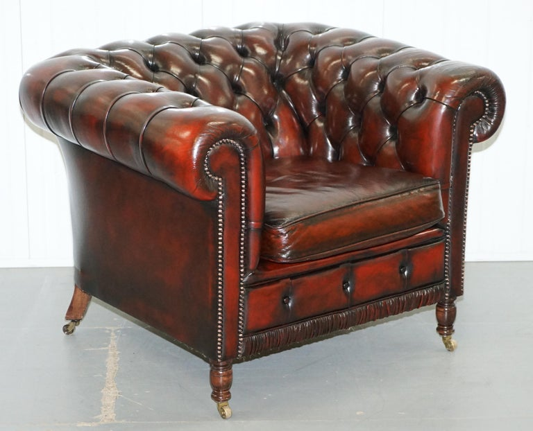 Restored Bordeaux Leather Chesterfield Club Suite Armchair And Sofa