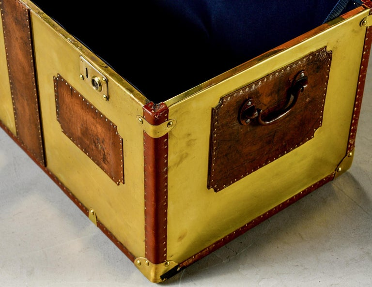 Restored Brass and Leather English Grenadiers Trunk with Regimental Ornaments For Sale 7