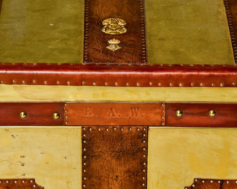 Restored Brass and Leather English Grenadiers Trunk with Regimental Ornaments For Sale 8