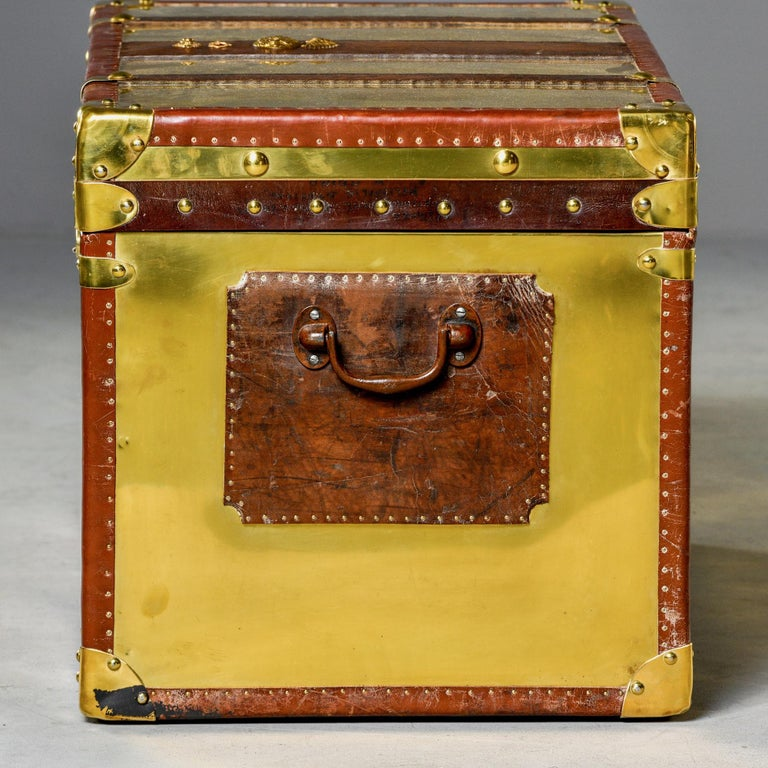 Restored Brass and Leather English Grenadiers Trunk with Regimental Ornaments In Good Condition For Sale In Troy, MI