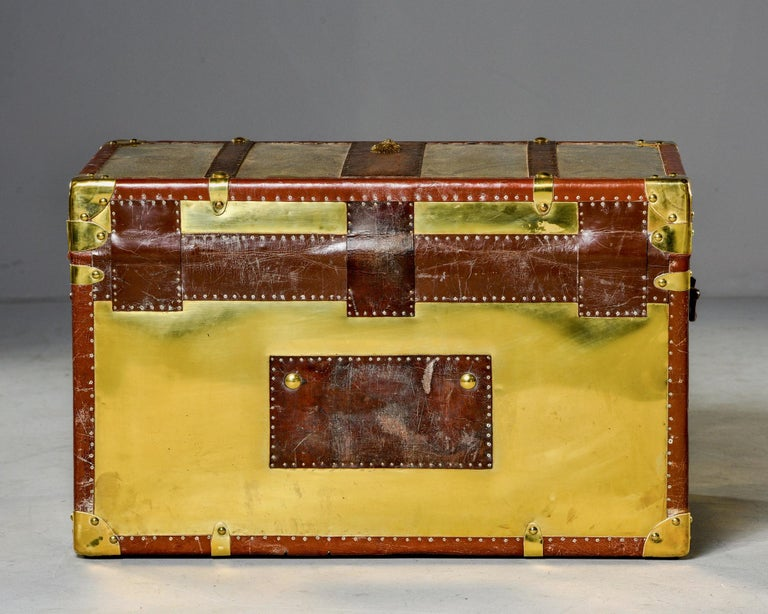 Restored Brass and Leather English Grenadiers Trunk with Regimental Ornaments For Sale 1
