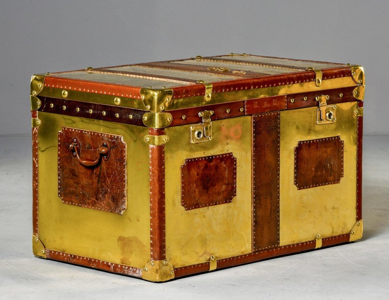 Restored Brass and Leather English Grenadiers Trunk with Regimental Ornaments For Sale 4