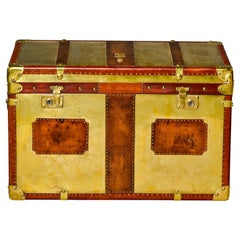 Restored Brass and Leather English Grenadiers Trunk with Regimental Ornaments