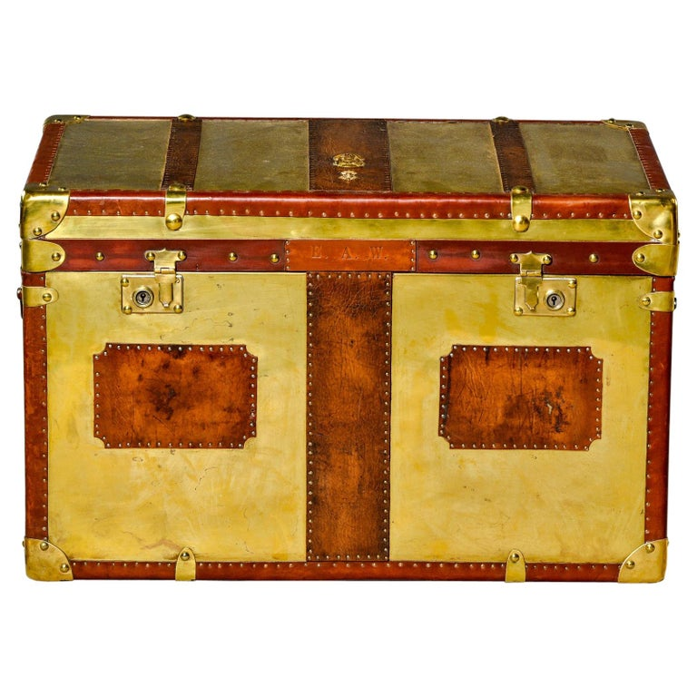 Restored Brass and Leather English Grenadiers Trunk with Regimental Ornaments For Sale