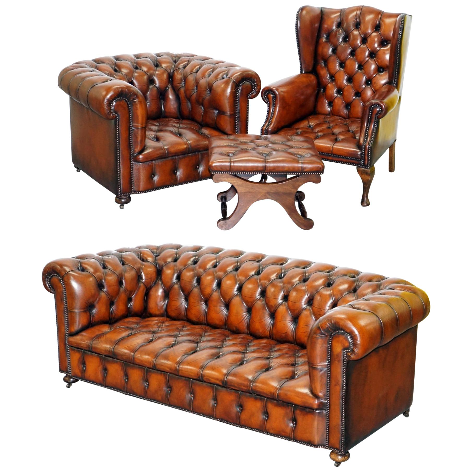 Restored Brown Leather Chesterfield Library Club Wingback Armchair & Sofa Suite
