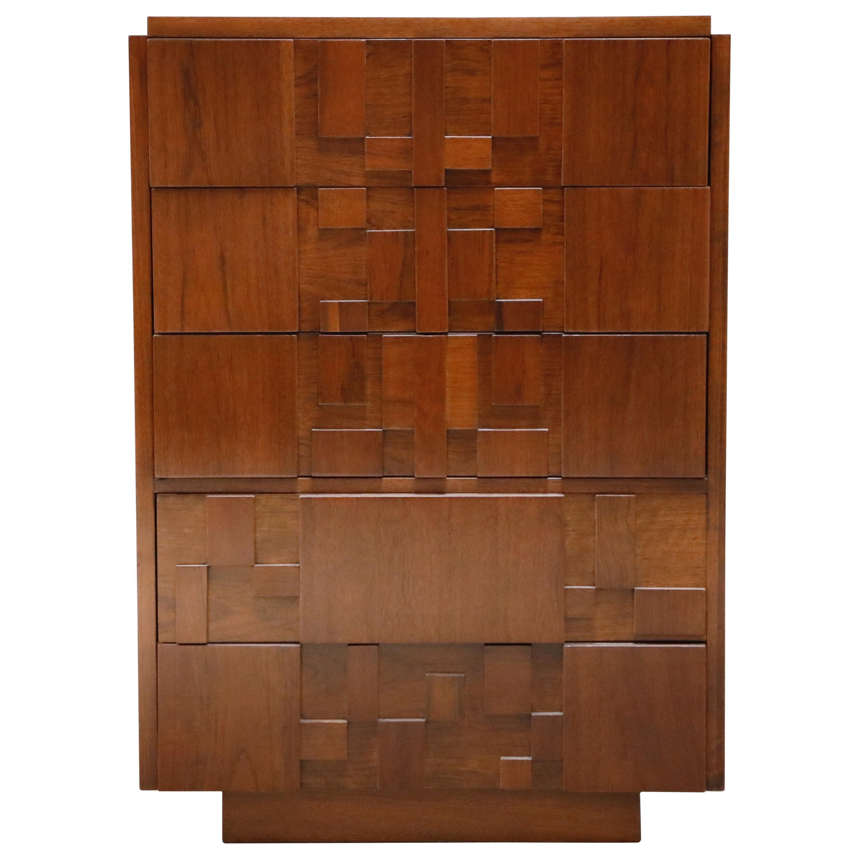 Restored Brutalist Five-Drawer Highboy Dresser by Lane Altavista, 1960s, Signed